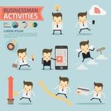 Sistema de actividades del hombre de negocios Imagen de archivo libre de regalías