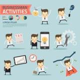 Sistema de actividades del hombre de negocios Fotos de archivo