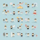 Sistema de actividades del hombre de negocios en fondo azul Imagenes de archivo