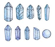 Sistema de acuarela y de gemas pintadas a mano y de cristales azules de la tinta aislados Imagen de archivo