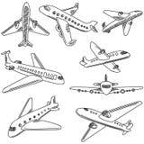 Sistema de aeroplanos del garabato Iconos del drenaje de la mano Foto de archivo libre de regalías