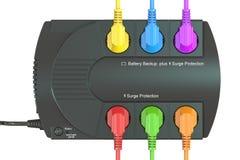 Sistema de alimentación ininterrumpida, UPS con los enchufes eléctricos coloreados 3 Fotos de archivo