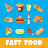 Sistema de alimentos de preparación rápida en el estilo del arte plano Fotos de archivo libres de regalías