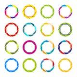 Sistema de alrededor y marcos y fronteras decorativos circulares Imágenes de archivo libres de regalías