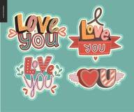 Sistema de amor contemporáneo del girlie usted pone letras al logotipo Fotos de archivo libres de regalías