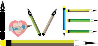 Sistema de amor del lápiz Imágenes de archivo libres de regalías