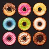 Sistema de anillos de espuma coloridos dulces lindos del vector Fotos de archivo libres de regalías