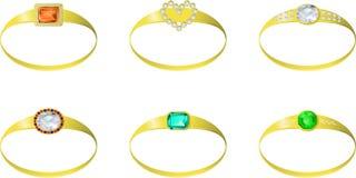 Sistema de anillos de oro de la piedra preciosa - vector el ejemplo Foto de archivo libre de regalías