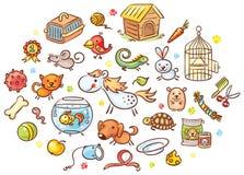 Sistema de animales de animal doméstico coloridos de la historieta con los accesorios, los juguetes y la comida libre illustration