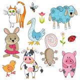 Sistema de animales de la historieta Fotografía de archivo libre de regalías