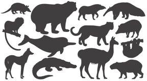Sistema de animales de las siluetas de Suramérica ilustración del vector