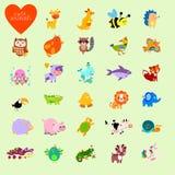 Sistema de animales divertidos del vector en estilo de la historieta Fotografía de archivo libre de regalías