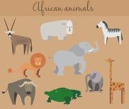 Sistema de animales lindos del africano de la historieta Fotos de archivo