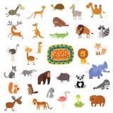 Sistema de animales lindos en el fondo blanco Imágenes de archivo libres de regalías