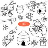 Sistema de animales lindos y objetos, familia del vector de abejas Fotos de archivo libres de regalías