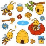 Sistema de animales lindos y objetos, familia del vector de abejas Imagen de archivo