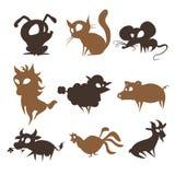 Sistema de animales que viven en la granja Fotografía de archivo