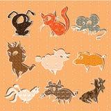 Sistema de animales que viven en la granja Imagen de archivo libre de regalías