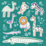 Sistema de animales salvajes y de pájaros stock de ilustración