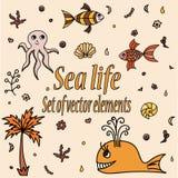 Sistema de animales y de elementos de mar Criaturas acuáticas lindas Foto de archivo libre de regalías