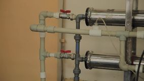 Sistema de aquecimento unserved velho na produção filme