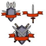 Sistema de armas y de la armadura medievales ilustración del vector