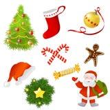 Sistema de artículos de la Navidad Imagen de archivo libre de regalías