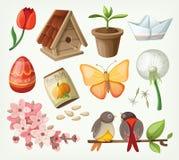 Sistema de artículos de la primavera Foto de archivo