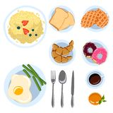 Sistema de art?culos del desayuno en ejemplo plano del vector de los platos de la ma?ana de la opini?n de top del estilo del gara ilustración del vector
