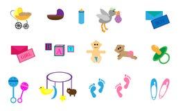 Sistema de artículos del tema del bebé Foto de archivo libre de regalías
