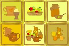 Sistema de artículos planos pintados de la cocina Imagen de archivo libre de regalías