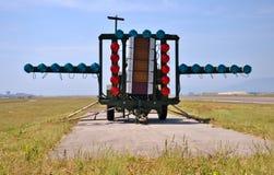 Sistema de aterrissagem ótico FLOLS/Meatball da marinha fotografia de stock