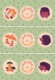 Sistema de Autumn Cards With Hedgehogs ilustración del vector