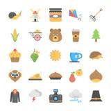 Sistema de Autumn Icons plano stock de ilustración