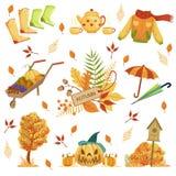 Sistema de Autumn Related Objects Fotografía de archivo libre de regalías