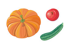 Sistema de Autumn Vegetables Flat Vector Illustrations Foto de archivo libre de regalías