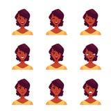 Sistema de avatares africanos de la expresión de la cara de la mujer ilustración del vector