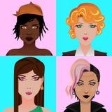 Avatares de las muchachas stock de ilustración