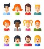 Sistema de avatares planos aislados del icono de la gente del diseño Imágenes de archivo libres de regalías