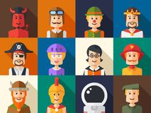 Sistema de avatares planos aislados del icono de la gente del diseño Imagen de archivo libre de regalías