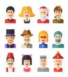 Sistema de avatares planos aislados del icono de la gente del diseño Fotografía de archivo libre de regalías