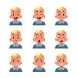 Sistema de avatares rubios del bebé con diversas emociones ilustración del vector