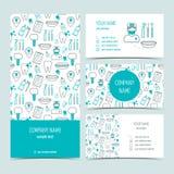 Sistema de aviador, de folleto y de las tarjetas de visita para la clínica dental Sistema de productos promocionales Diseño plano ilustración del vector