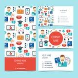 Sistema de aviador, de folleto y de las tarjetas de visita para los cursos y las escuelas del idioma extranjero Sistema de produc libre illustration