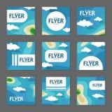 Sistema de aviadores cuadrados con el mar y las islas Vector Fotografía de archivo libre de regalías