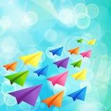 Sistema de aviones del papel de color de vuelo Imagen de archivo libre de regalías