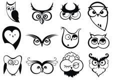 Sistema de búhos con diversas emociones stock de ilustración