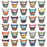 Sistema de búhos multicolores del vector Imagen de archivo