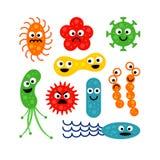 Sistema de bacterias divertidos lindos en el fondo blanco Imagen de archivo