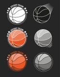 Sistema de baloncestos en un fondo gris Vector Foto de archivo